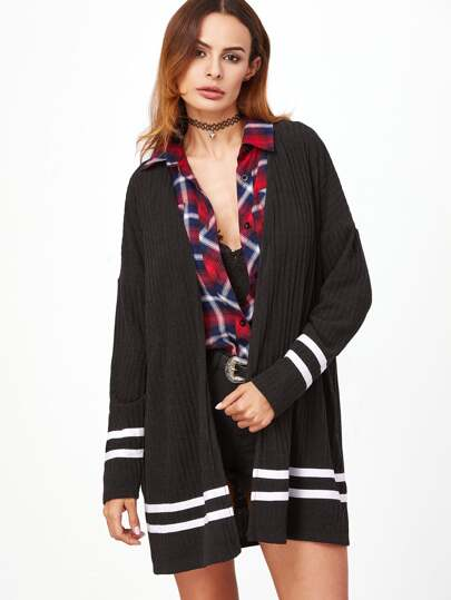 Drop Shoulder Ribbed Knit Striped Trim Coat