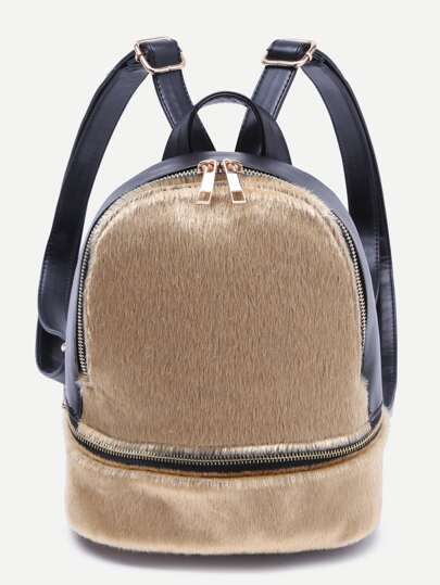 Gold Faux Fur Covered Zip Front Backpack