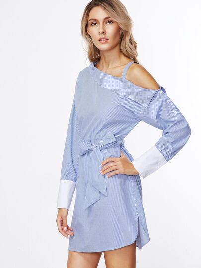 Blue Striped Contrast Cuff Asymmetric Cold Shoulder Belted Dress