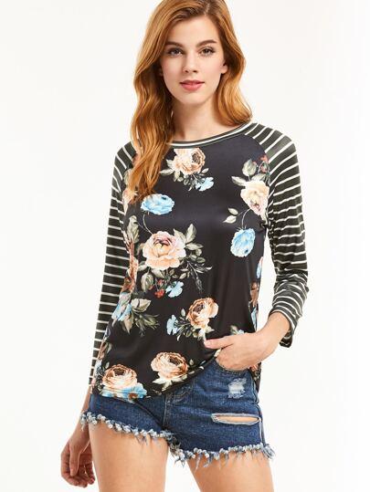 T-shirt à rayé manche raglan imprimé floral -noir
