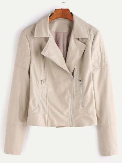 Apricot Quilted Embossed PU Jacket