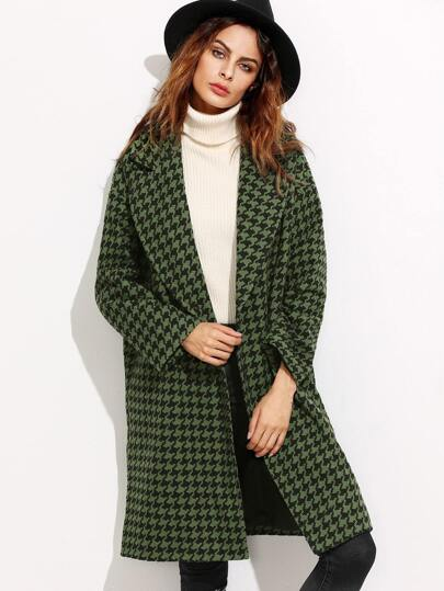 Green Houndstooth Hidden Button Coat