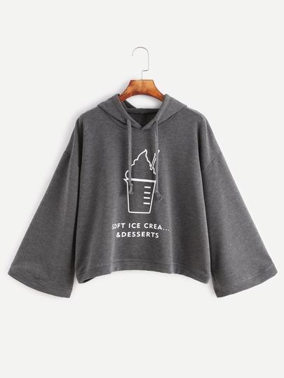 Sudadera con estampado de helado y capucha - gris oscuro