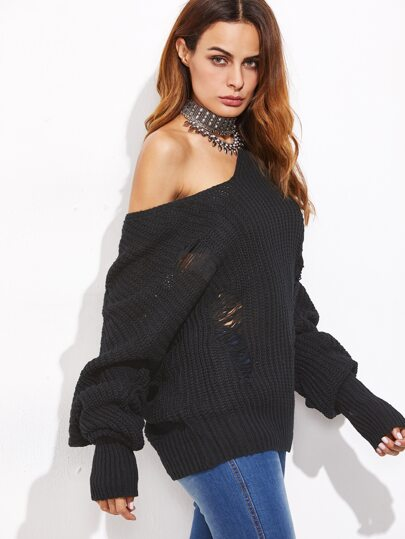 Black Ripped Sweater With Extra Long Sleeve