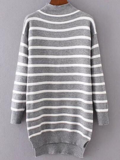 Grey Striped Mock Neck High Low Sweater Dress