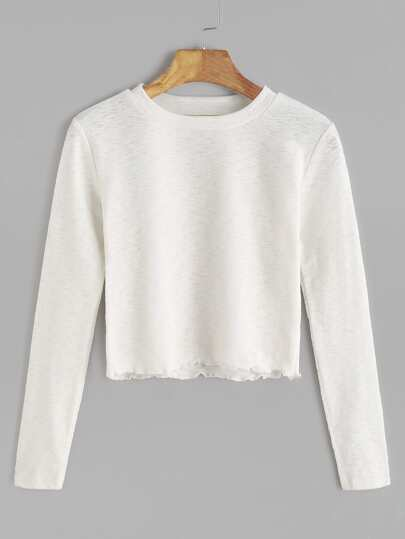 Beige Long Sleeve Crop T-shirt