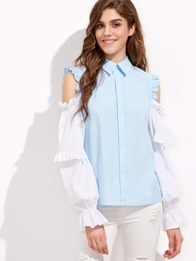 Open Shoulder Contrast Sleeve Button Back Ruffle Blouse
