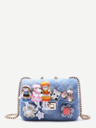 Flower Embellished Quilted Denim Box Chain Bag With Doll