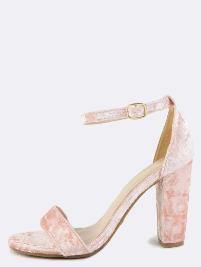 Crushed Velvet Chunky Heels BLUSH