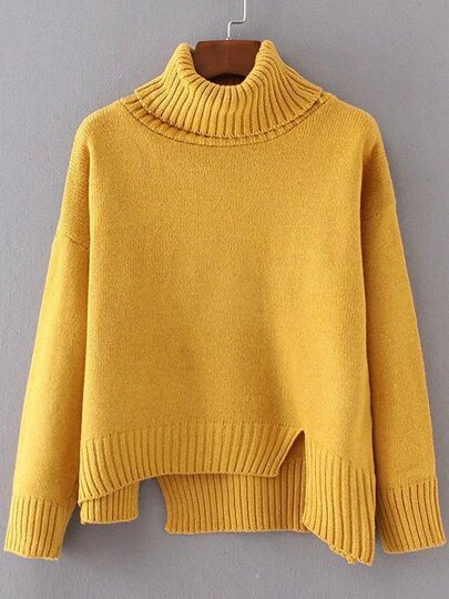 Yellow Ribbed Trim Turtleneck Asymmetrical Sweater