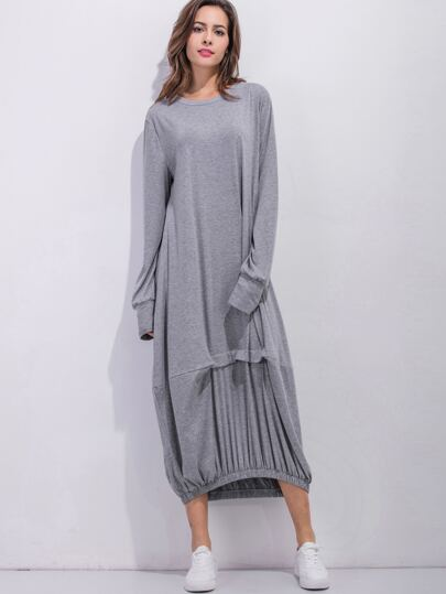 Grey Elastic Hem Shift Dress