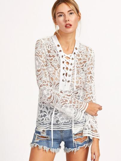 White Eyelet Lace Up Bell Sleeve Lace Blouse
