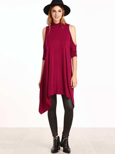 Burgundy Mock Neck Open Shoulder Keyhole Back Asymmetrical Dress