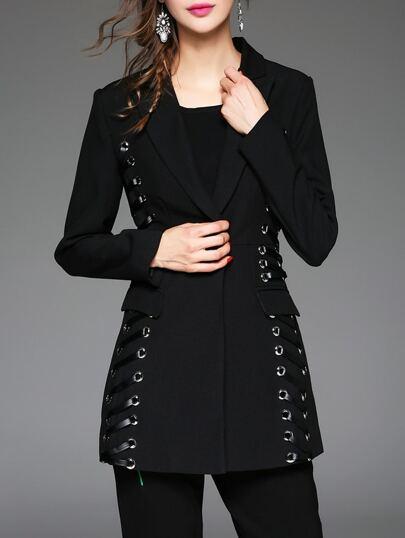 Abrigo de PU con solapa y bolsillo - negro
