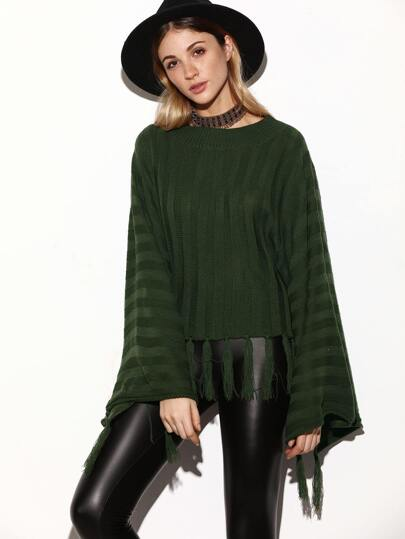 Army Green Raglan Sleeve Fringe Hem Loose Sweater