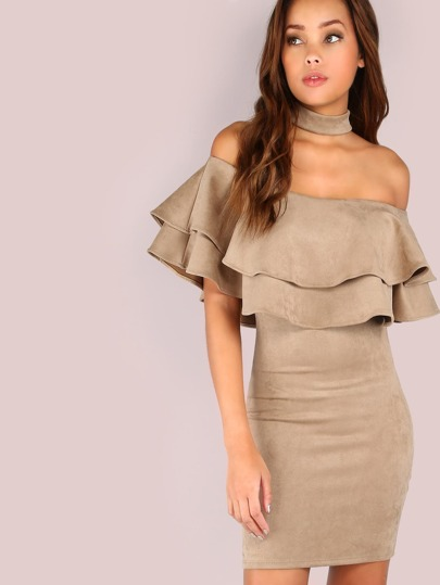 Flounce Layered Neckline Suede Choker Dress