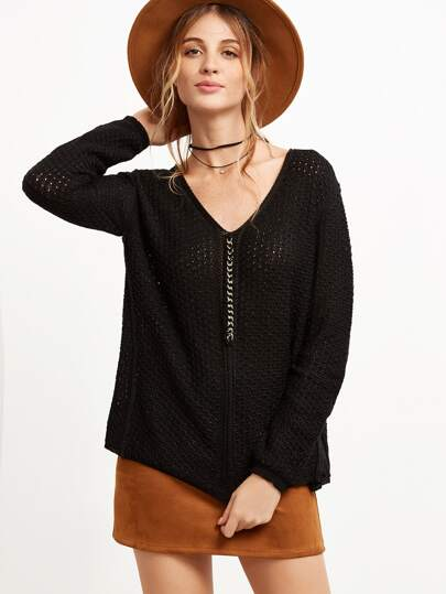 Black V Neck Mixed Chain Front Sweater