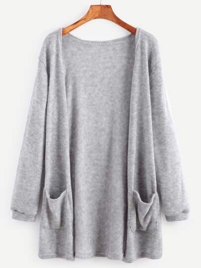 Grey Elastic Cuff Cardigan With Pockets