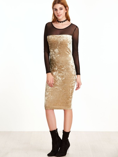 Apricot Contrast Mesh Shoulder Velvet Pencil Dress