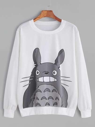 White Cartoon Print Long Sleeve Sweatshirt