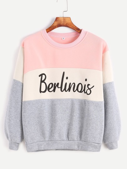 Sudadera con estampado de letras - color block
