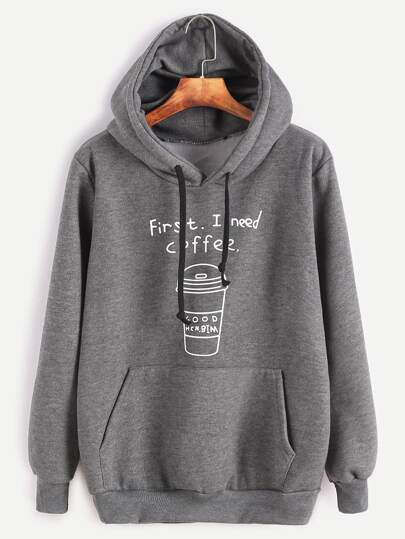 Dark Grey Printed Hooded Sweatshirt With Pocket