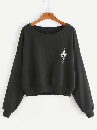Black Skull Hand Print Drop Shoulder Sweatshirt