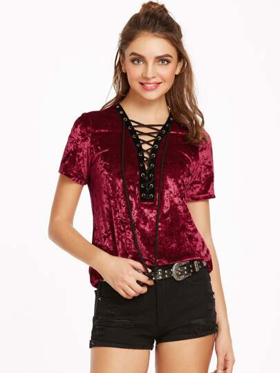 Burgundy Eyelet Lace Up V Neck Velvet Top