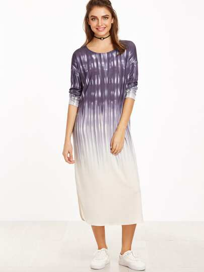 Ombre Drop Shoulder Curved Hem Tee Dress