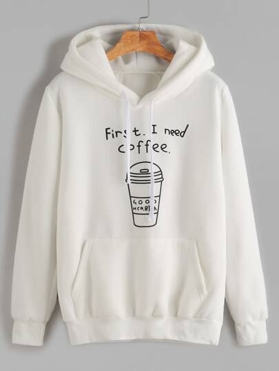 White Printed Hooded Sweatshirt With Pocket