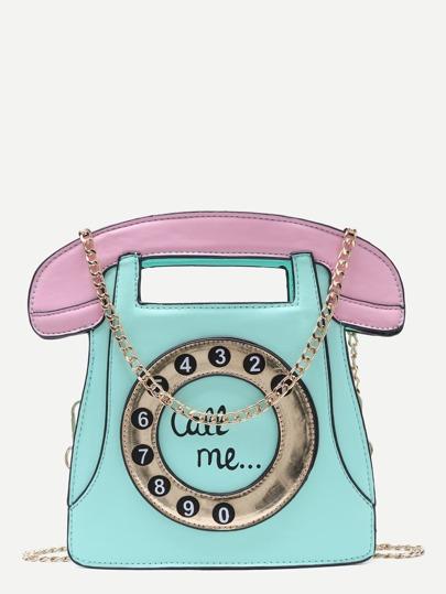 Rufen Sie mich Tel-Tasche mit Kettenbügel an-mint