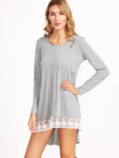 Pale Grey Contrast Lace Hem High Low Dress