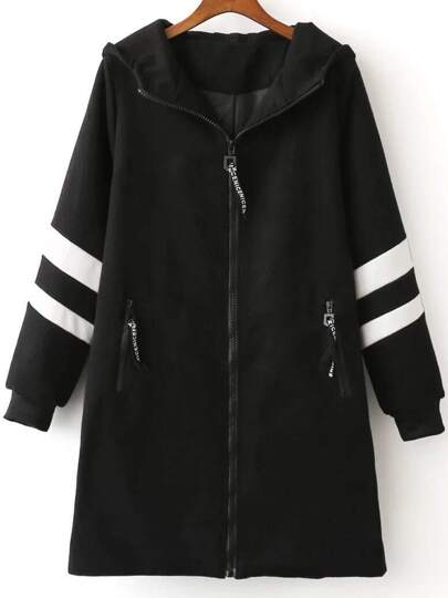 Black Color Block Long Hooded Jacket