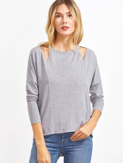 Heather Grey Cutout Neck Drop Shoulder High Low T-shirt