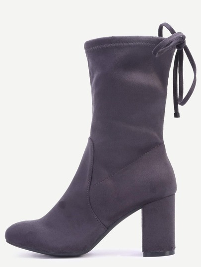 Grey High Heels Tie Back Short Boots