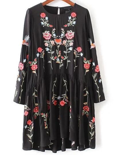 Flower Embroidery Keyhole Back Pleated Dress