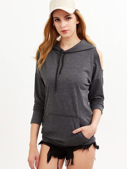 Dark Grey Open One Shoulder Pocket Front Hooded Sweatshirt