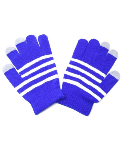 Sky Blue Striped Knit Textured Telefingers Gloves