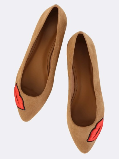Faux Suede Embroidered Kiss Flats TAN