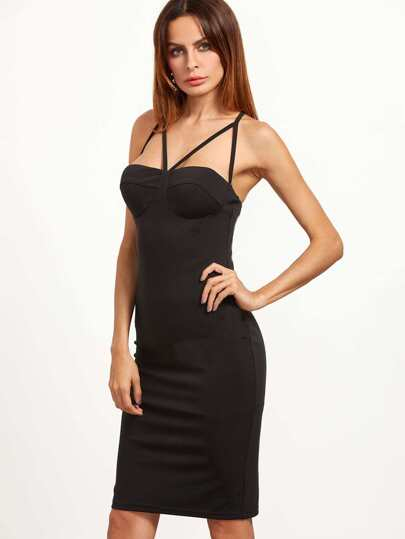 Black Crisscross Back Strappy Bustier Dress