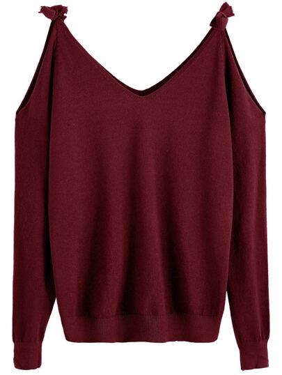 Burgundy Tie Cold Shoulder Sweater