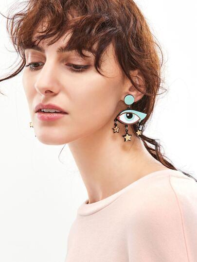 Bohemia Eye Shaped Star Trim Leather Drop Earrings