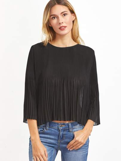 Black 3/4 Sleeve Pleated Buttoned Keyhole Back Top