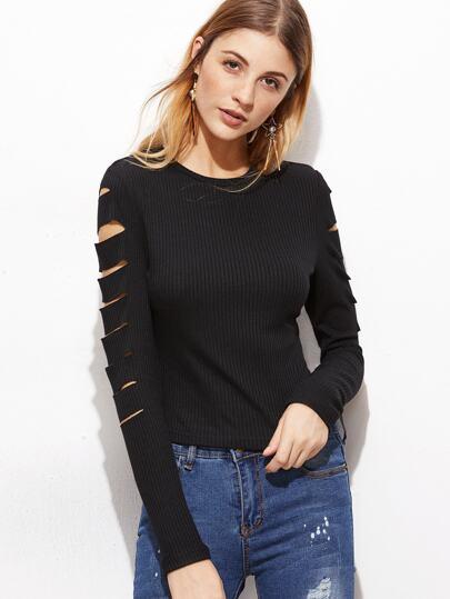 gerippte Strick T-shirt mit zerrissen Design -schwarz
