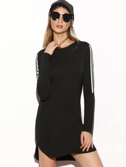 Black Striped Sleeve Curved Hem Bodycon Dress