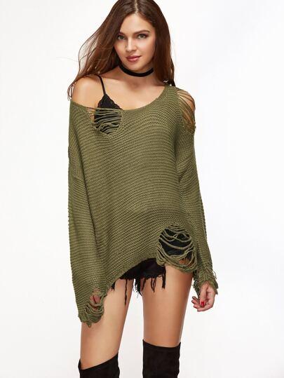 Mustard Drop Shoulder Zip Slit Ripped Sweater