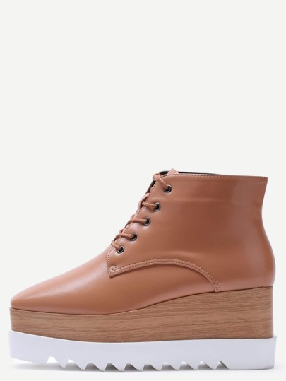Brown Lace Up PU Square Toe Platform Ankle Boots
