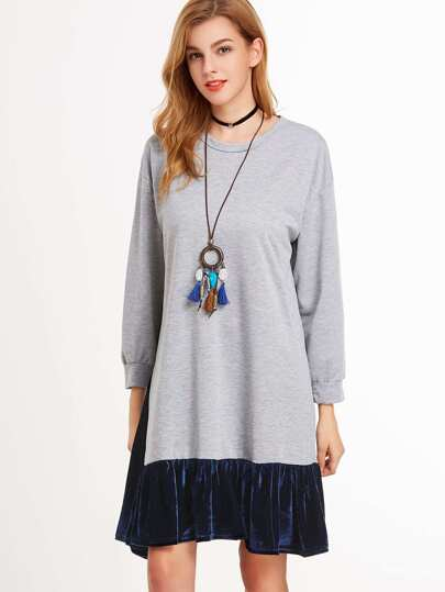 Grey Drop Shoulder Contrast Velvet Hem Sweatshirt Dress