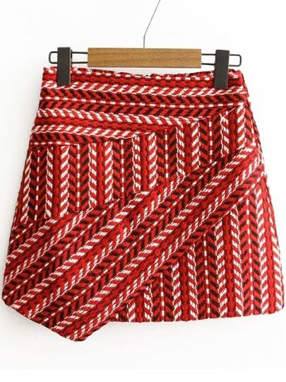 Red Tribal Pattern Asymmetrical Skirt