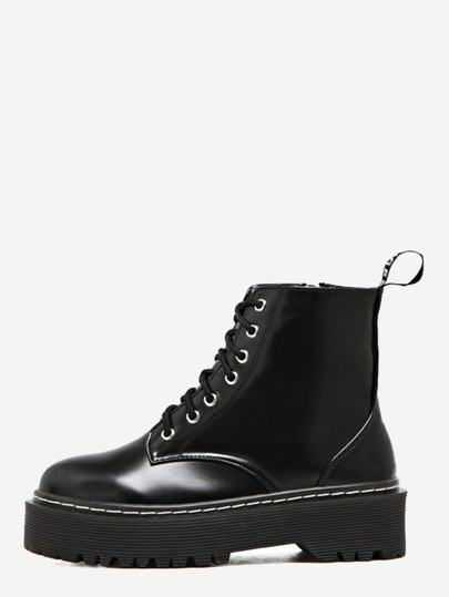 Black PU Lace Up Side Zipper Martin Boots